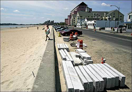 A $9 million project will reconstruct Revere Beach Boulevard in Revere, relieve flooding problems with better drainage, and create a complete, broad sidewalk along the beach so walkers don't need to step into the road and dodge traffic. It features a major nip and tuck for the roadway -- the elimination of about 250 angled parking spaces that let beachgoers cram into free parking spaces. The project's completion -- expected by late summer -- has been pushed back to the distant spring.