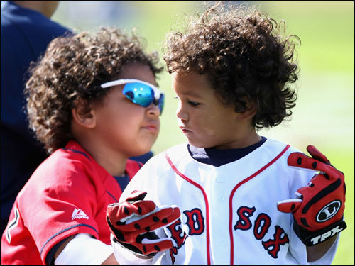 The All-Star game isn't just a chance for big leaguers to hobnob on the field; their children also got in on the act Monday. Before the Home Run Derby at AT&T Park in San Francisco, the sons of Manny Ramirez (Manny Jr., left) and David Ortiz (D'Angelo) frolic on the field.