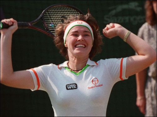 Martina Hingis, winner of the doubles (with towering Helena Sukova) at age 15 in 1996, won the women's single title a year later.