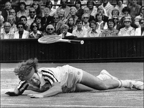 As they climbed the slippery 22-minute tiebreaker, McEnroe hurdling five championship points, Borg six set points, the magic of their swinging cast a spell. They attacked and defended majestically. Somehow McEnroe lived into the fifth and a deuce set before Borg's backhand blasts got him, 1-6, 7-5, 6-3, 6-7 (16-18), 8-6.