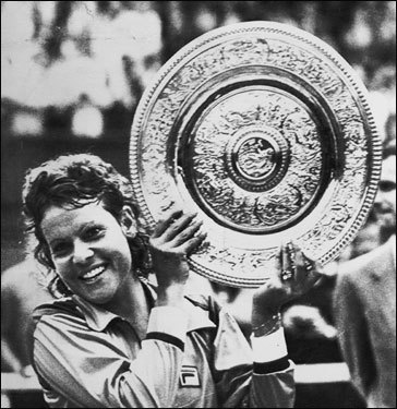 Few have glided across the lawns in such a carefree manner as the Aussie zephyr, Evonne Goolagong, victor in 1971 and 1980, both times nice surprises. She dethroned Court for the first. Then, beating Evert, she became only the second mother-as-champ of the 20th century. Dolly Chambers in 1914 was the first.