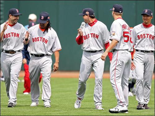 Six Red Sox All-Stars -- David Ortiz, Manny Ramirez, Mike Lowell, Josh Beckett, Hideki Okajima, and Jonathan Papelbon -- helped the American League defeat the National League, 5-4, Tuesday in San Francisco.
