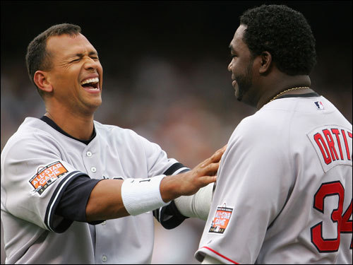 A-Rod also shared some laughs with Ortiz.