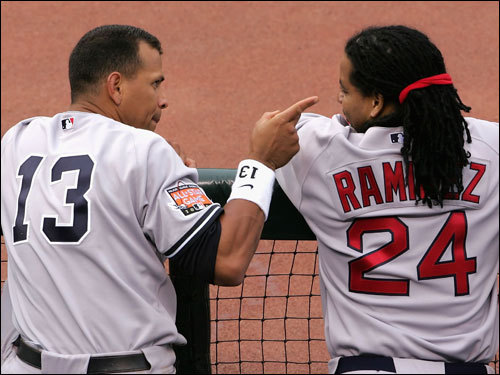Alex Rodriguez, left, chats with Ramirez in the dugout during Tuesday's All-Star game.