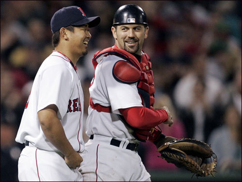 Jason Varitek, who dubbed Matsuzaka ''Kumo'' ('spider' in Japanese) because one of the T-shirts he wears while working out looks like something out of Spiderman, doesn't golf. But at the ballpark, Varitek has spent more time with Matsuzaka than anyone else in uniform other than pitching coach John Farrell.