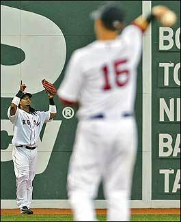 Ramirez celebrates throwing out Thomas by pointing to the sky. Pedroia tosses the ball after Ramirez's fifth outfield assist of the season.