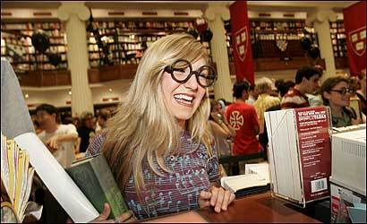 A Harry Potter fan lined up to be first to purchase the latest book at the Harvard Coop in 2005, when Potter book launch parties were not a problem.