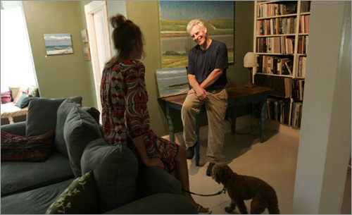 Simon chats with painter Allen Whiting at his studio in West Tisbury. He paints landscapes from around the island, notable for their almost psychedelic portrayal of the ocean and clouds. They're for sale in his home (starting at $1,000), which is open Tuesday-Sunday in the afternoons during the summer.