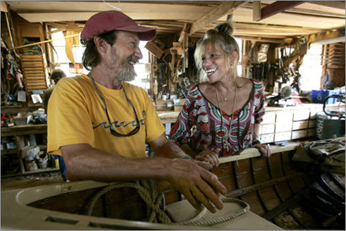 Simon talks with boatbuilder Nathaniel Benjamin in his shop at Gannon & Benjamin Boatyard in Vineyard Haven.