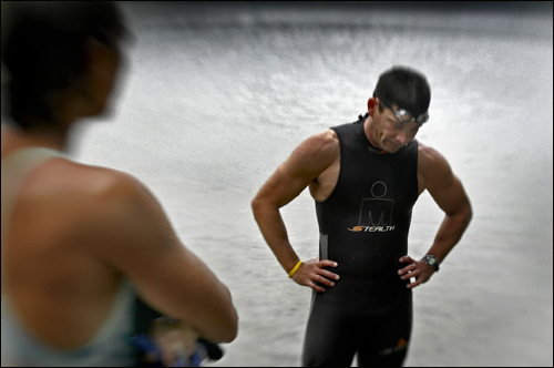 Jeff Aronis of Waltham says the news about the triathlete who died from a heart attack July 8 in Cohasset's first triathlon was sad. Aronis trains with members of his Boston triathlon team in Walden Pond early in the morning.