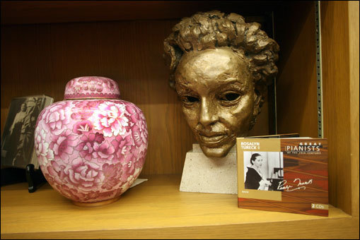 Paladino's office holds an urn with the ashes of Bach pianist Rosalyn Tureck, as well as a bust of her. Also in the Howard Gotlieb Archival Research collection is a statue of Katherine Hepburn as Queen Eleanor for the movie, 'The Lion in Winter,' a framed note from poet Walt Whitman to his Philadelphia publisher, David McKay, and a signed John Hancock document.