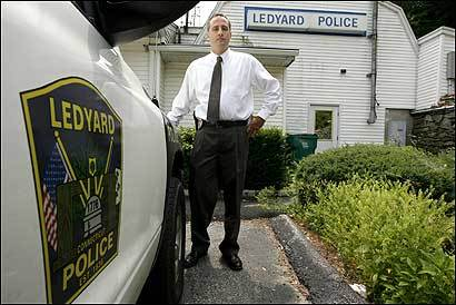 Police Sergeant Michael T. Finkelstein works in Ledyard, Conn., near Foxwoods Resort Casino. Calls to police over the past six years have almost tripled.