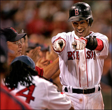 The Red Sox shortstop has really turned it around at the plate. He's hit safely in 11 straight games, and had five hits over the weekend. He even hit a grand slam Friday night, much to the delight of teammate Manny Ramirez.