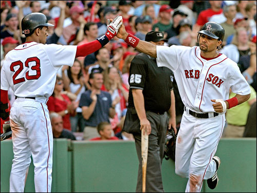 Boston's bats stayed hot Saturday and put up 11 more runs on the reeling White Sox. Here, Coco Crisp scored on a triple by Eric Hinske (not pictured). Kason Gabbard was solid again for his fourth win.