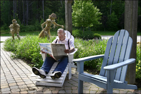 Arthur Longwell of Worcester, MA relaxes in the garden outside Stonewall Kitchen.