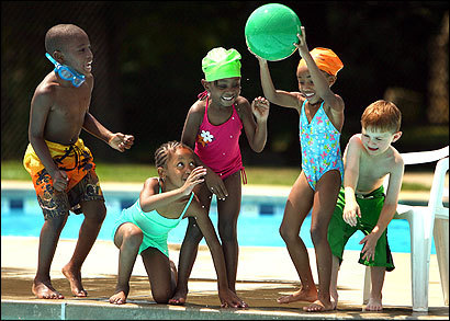Children in the Project JumpStart summer program for Metco students from Boston played at the Codman Pool in Lincoln yesterday.