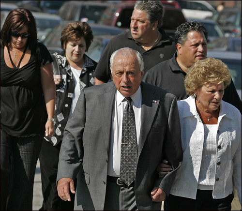 Peter Limone arrived to hear the judge's verdict with his wife, Olympia, and his daughters and sons. The discovery of the files that had not been turned over during the trial prompted a state judge six years ago to overturn the murder convictions of Limone, who was immediately freed from prison, and Salvati, who was paroled in 1997.