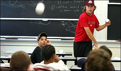 Tim Morton fired a ball Tuesday in a program that mixes baseball and math.