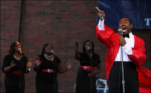 Berklee student vocalist Major 'Choirboy' Johnson-Finley sang 'I found a friend' during Boston's annual GospelFest, which took place at City Hall Plaza Sunday. This year marked the eighth anniversary of this firmly established Boston tradition.