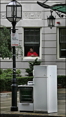 A stove and fridge on Commonwealth Avenue near the Barclay waited to be picked up.