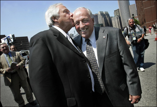 Joseph Salvati (left) celebrated with Peter J. Limone a kiss outside John Joseph Moakley US Courthouse Thursday after winning their lawsuit against the government for their wrongful convictions in a 1965 gangland slaying.