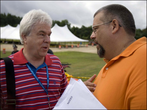 Dennis Whittlesey, (left) the town-hired gaming expert, argued with Richard Young before a meeting at Middleborough High School to determine the residents' position regarding the recently negotiated Wampanoag Casino agreement.