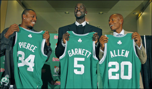 Kevin Garnett became the newest member of the Celtics on Aug. 31, joining Paul Pierce and Ray Allen to form one of the league's most formidable trios. The Celtics sent five players (AL Jefferson, Ryan Gomes, Gerald Green, Sebastian Telfair, and Theo Ratliff) and two draft picks to Minnesota in the deal.