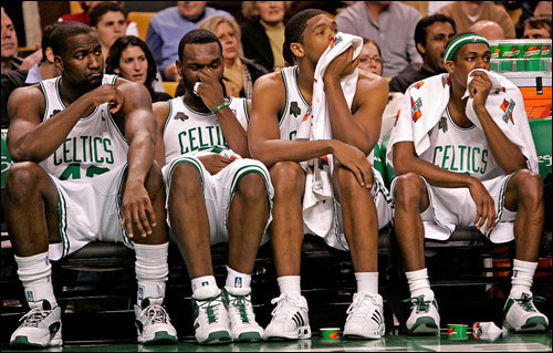 The Celtics bench got a whole lot thinner with the 5-for-1 deal for KG. The Celtics will obviously add some players to fill out their roster before the season starts, but gone are role players Ryan Gomes, Delonte West, Gerald Green, Sebastian Telfair, and Wally Szczerbiak. Tony Allen and Leon Powe, along with rookies Glen 'Big Baby' Davis and Gabe Pruitt, will have increased roles because of this deal.