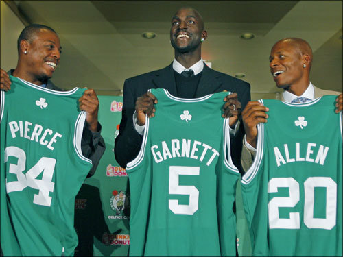 Meet the new 'Big Three'. Paul Pierce (34) and Ray Allen (20) flank the latest addition to the Celtics' family: Kevin Garnett. The Celtics formally introduced Garnett, who was acquired this week in a blockbuster trade with Minnesota.