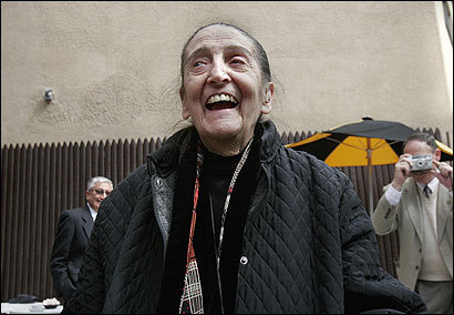 Josefina Yanguas, longtime owner of Cafe Pamplona, was honored by Mayor Kenneth Reeves and other Spanish officials outside her restaurant in Harvard Square in May 2006.