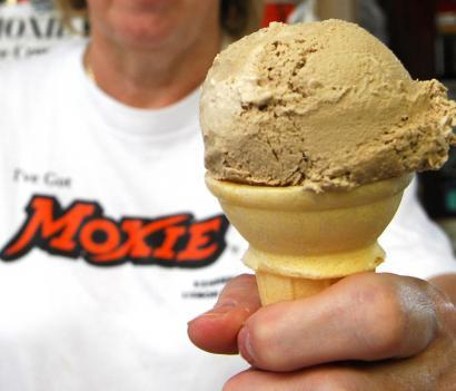 Cathy Bienkowski showed off a Moxie-flavored ice cream cone in Maine.