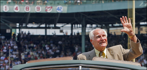 The Red Sox honored Hall of Fame second baseman Bobby Doerr Aug. 2 in a pregame ceremony. An emotional Doerr waved to cheering fans as he rode off the field following the ceremony.