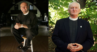 The Rev. Brian Murdoch (left), who is gay, and his brother, the Rev. Bill Murdoch, remain amicable. (Left photo by Bill Greene/Globe Staff. Right photo by Robert Spencer for The Boston Globe)