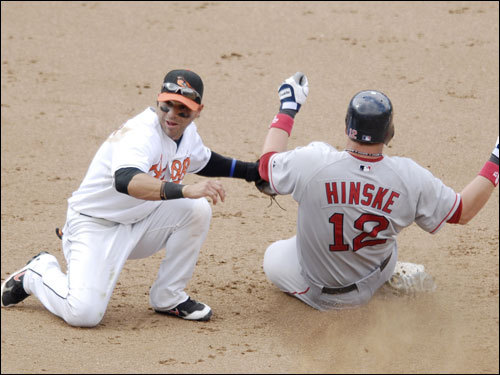 Eric Hinske stole second base in the ninth inning but did not score.