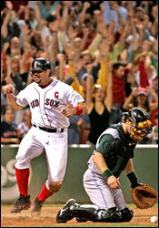 Jason Varitek crosses the plate, tying the score 5-5