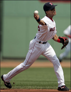 Boston Red Sox shortstop Julio Lugo throws out Tampa Bay's Delmon Young to end the top half of the first inning.