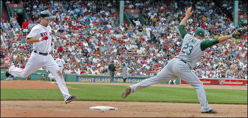 A big play for the Red Sox in the seventh inning, as with no one on and two out, Mike Lowell (left) ripped a shot down the third base line that Tampa Bay 3B Akinori Iwamura (backround, center) made a great diving grab on, but his throw drew 1B Carlos Pena (right) off the bag, and Lowell was safe at first. Jason Varitek followed with a two run home run.