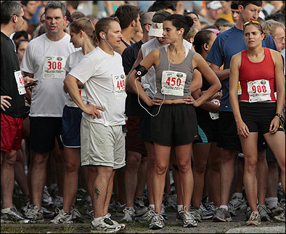 Runners, some with headphones, some without, awaited the start of the Jerry Garcia Memorial River Run & Walk in Cambridge last month.