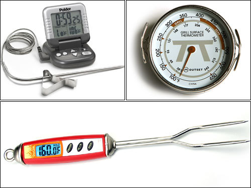 5) Purchase a food thermometer Food thermometers are available at most supermarkets. Always check the final temperatures of what you're cooking. Make sure that chicken is at 165 degrees; fish at 145 degrees; pork at 145 degrees; hamburger or any ground meats or ground fish at 155 degrees; and eggs at 145 degrees.