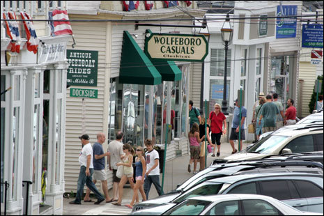 Downtown Wolfeboro is a shopping and boating mecca next to Lake Winnipesaukee.