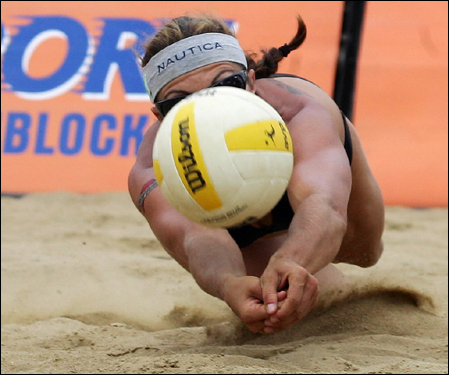 Misty May-Treanor digged out a smash Sunday during the finals of the AVP Boston Beach Volleyball Open at Marina Bay.