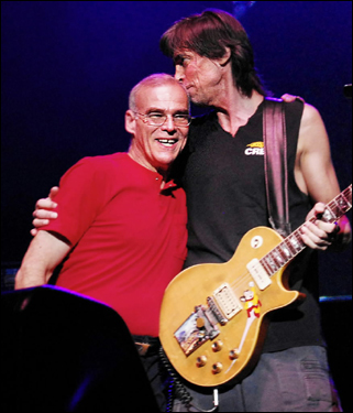 Original Boston drummer Jim Masdea (left) joined Tom Scholz onstage Sunday at the Bank of America Pavilion. Masdea performed on the debut album's 'Rock and Roll Band.'