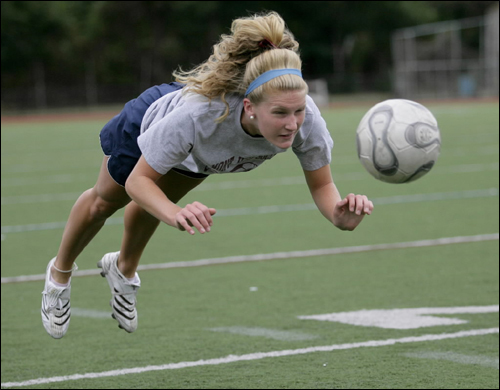 Belmont soccer player Ali Niland practiced Monday in Belmont.
