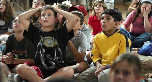 Walpole came from behind to win two regional games, but lost with Georgia at the Little League World Series. At Blackburn Memorial Hall in Walpole Center, Adam Nelson, 9, (left) reacted along with other fans while watching the double play that ended the game against Georgia.