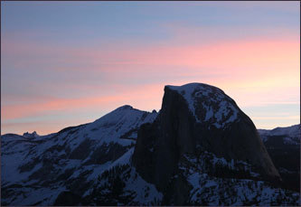 Another view of the Half Dome at sunset.