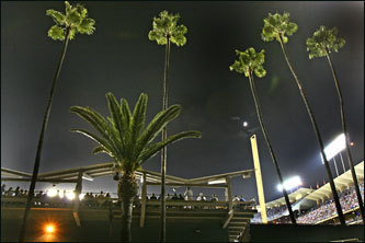 Although a committed Red Sox fan, Dushku is friends with a few Dodger players - All-Star pitcher Brad Penny is a particular pal - and has known Governor Mitt Romney's son, Tagg, the Dodgers' vice president of marketing, since she was a little girl. Palm trees loom over Dodger Stadium.