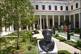 The Getty Villa recently reopened after an eight-year, $288 million face-lift. Pictured is the Inner Peristyle, which features replicas of Greek & Roman antiquities.