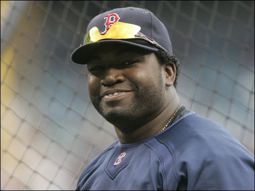 Red Sox DH David Ortiz smiled outside the batting cage before the game.