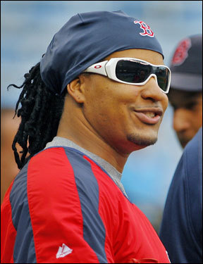 Manny Ramirez sported some shades during warmups.