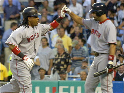 Manny Ramirez (left) was congratulated by Mike Lowell (right) after his second inning home run.